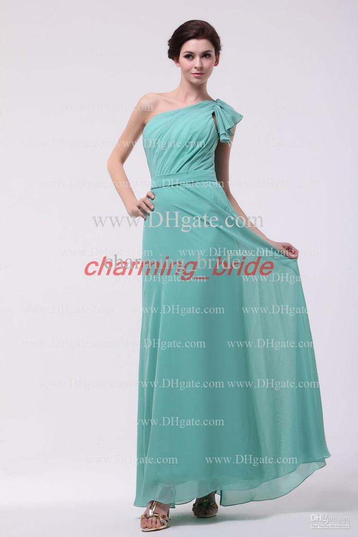 The 25 best ankle length bridesmaids gowns ideas on pinterest wholesale mint green one shoulder ruffles bridesmaid dresses chiffon prom dresses ankle length party dresses ombrellifo Image collections