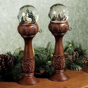 could make something like this using old candlesticks and old small snowglobes
