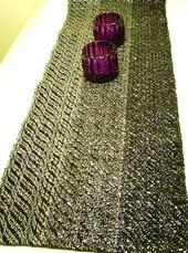 Hand woven black table runner (cotton / video cassette tape).