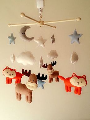 "Cloud mobile, Woodland mobile, Crib mobile, Baby mobile, Woodland nursery, Moon and Stars mobile, Neutral nursery mobile, ""Good Night"""