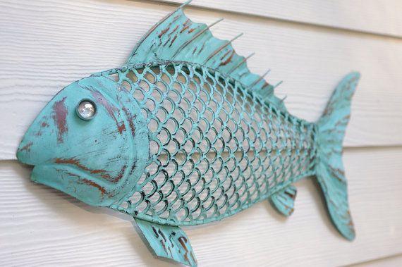 Beach Wall Decor Metal Fish  Blue Green by ByTheSeashoreDecor, $57.00