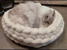DIY Cat Stuff... How to Arm Crochet a cat bed