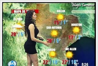 Want to know the funny story behind this sexy weather girl? Go to the blog site - LOL !