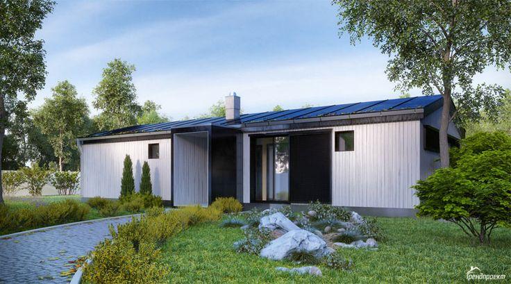 Тренд-105 Проект традиционного одноэтажного дома с отделкой вертикальным планкеном