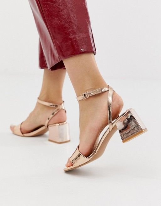1fc13bb0bfe DESIGN Wide Fit Honeywell block heeled sandals in rose gold in 2019 ...