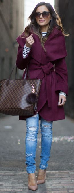 Fall fashion   Chic plum wrap coat with denim and heels