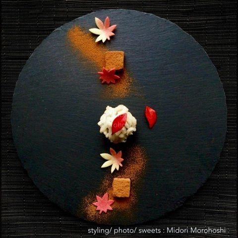 胡麻餡の練切 Nerikiri〜風花 Kazahana モード系*和菓子 + 器 のテーブルスタイリング