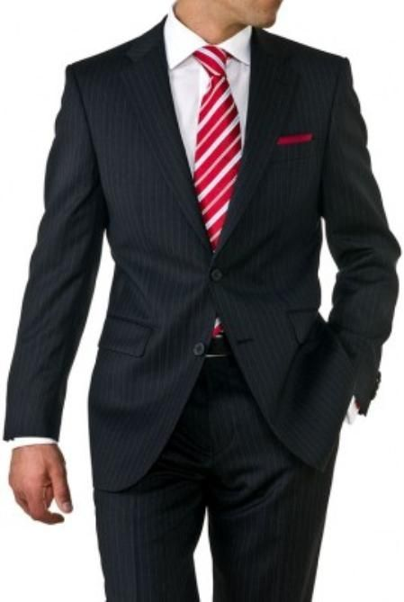 SKU#EV1942 Mens Two Button Black Pinstripe Suit $119 Mens Discount Suits By Style and Quality 2 Button Suits