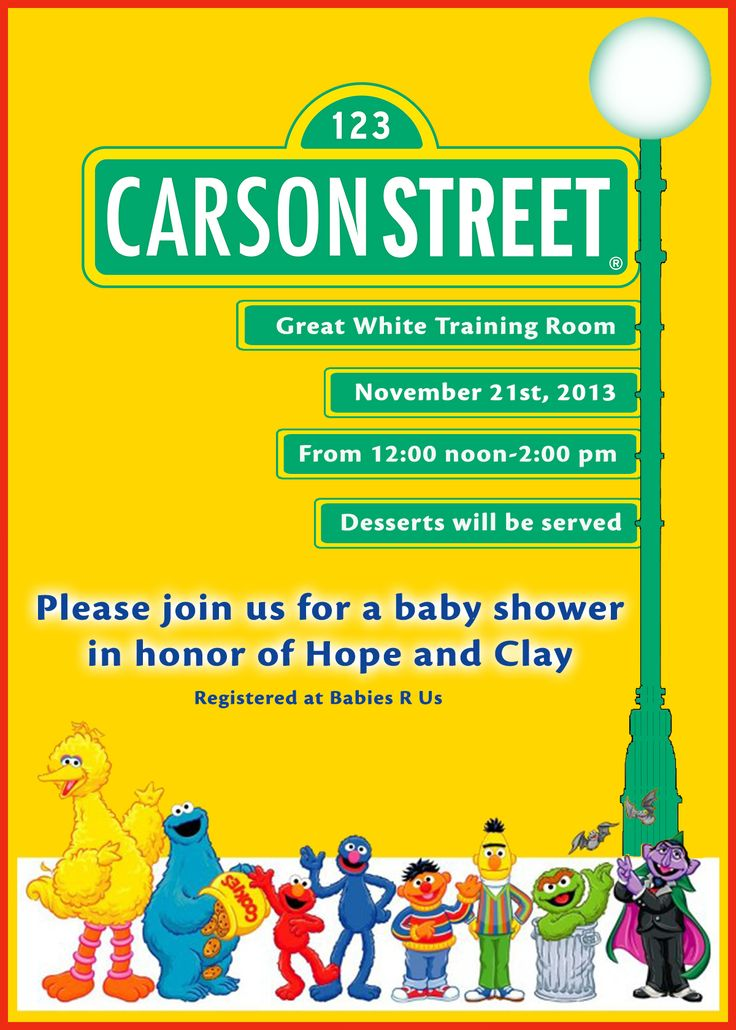Sesame streets baby showers and street on pinterest - Sesame street baby shower ...