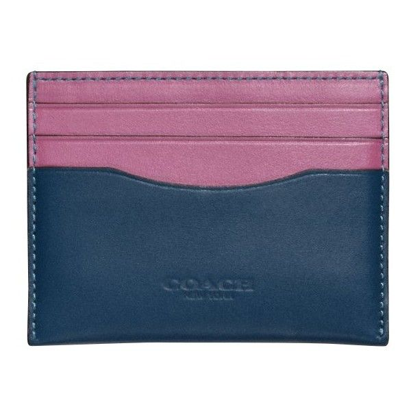 Coach Leather Flat Card Case ($84) ❤ liked on Polyvore featuring bags, wallets, 100 leather wallet, coach wallet, leather travel bag, card case wallet and real leather wallets