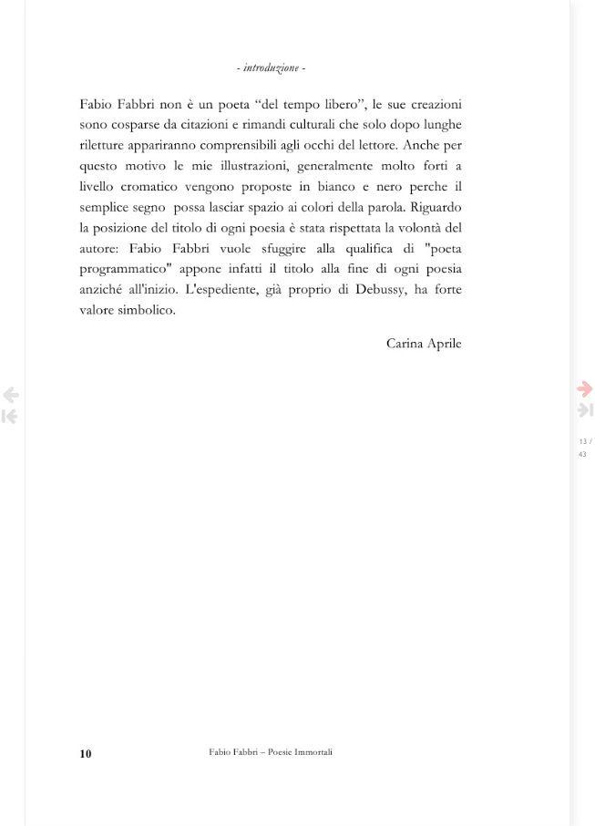 COME NASCE QUESTO LIBRO - introduzione  Pagina 10 del libro Fabio Fabbri poesie immortali - a cura di Carina Aprile