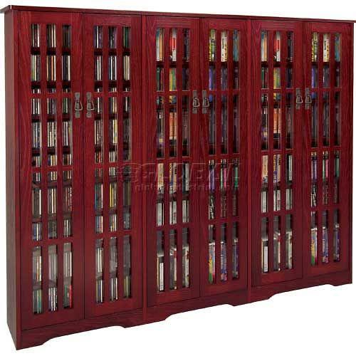 Entertainment Furniture | Multimedia Storage | Mission Style Inlaid Glass  Doors Multimedia Storage Cabinet Dark Cherry