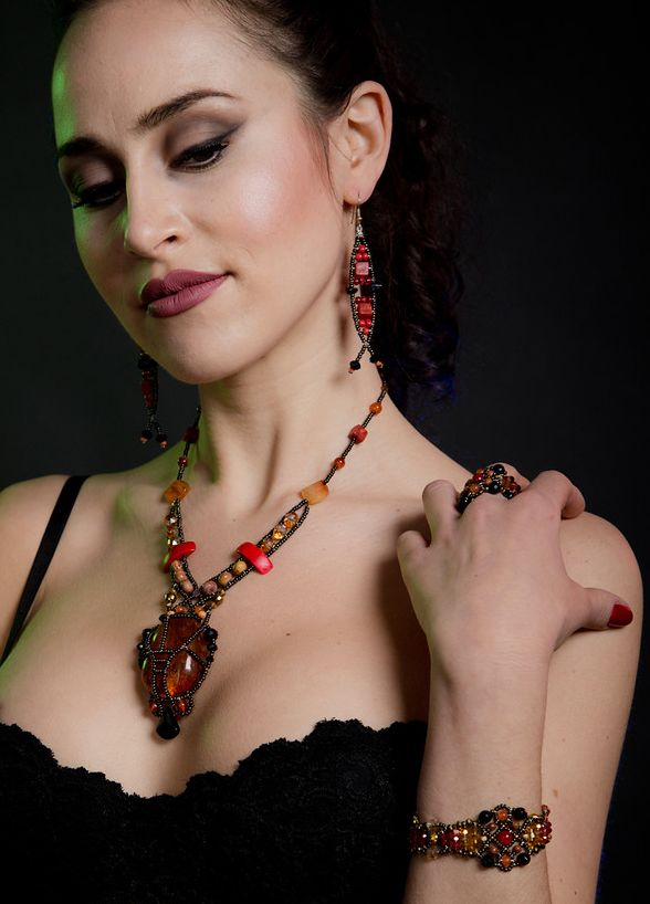 """""""Osiris"""" Amber necklace, """"Olive Leaf"""" coral earrings & """"Sheherezade"""" Onyx & Topaz bracelet from Musesa Design Jewelry Collection.  https://www.facebook.com/pages/Musesa/628011317215559?ref=hl"""