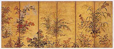 俵屋宗達 四季草花図屏風(17世紀)