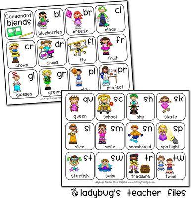 Consonant Blends freebie from Ladybug's Teacher Files blog - Cute!