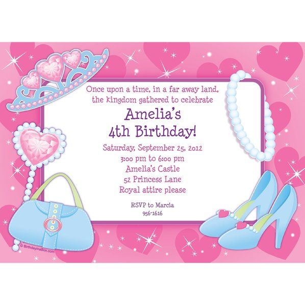 Check out Pink Princess Party Personalized Invitation - Pink Princess Party Supplies from Birthday In A Box