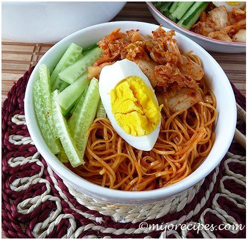 Korean Kimchi Cold Noodles | ☕ Korean Cuisine | Pinterest