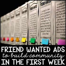 iTeach Third: Back To School Friend Wanted Ads...totally could see this on a door with newspaper style border. LOVE!