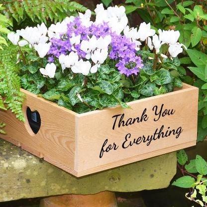 Why not make your own personalised planted crate using one of our stunning personalised wooden apple crates, just choose a personal message, pick a colour and you're away...