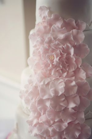 Pastel Green | Pink Sugar Flower Petals on Wedding Cake | photography by audrawrisley ...