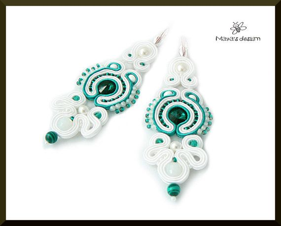 Soutache earrings bride wedding white emerald by Mayasbijou  €21.86 EUR on Etsy.com