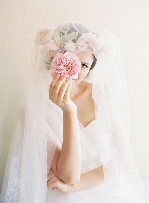 Silk Flower Crown and Veil   Caroline Tran Photography   Chic Parisian Wedding in French Blue, Gold Glitter, and Blush