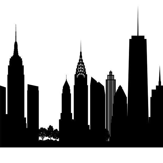 New York Skyline Printable New York Black White Wall Art New York Poster Cityscape Digital Print Vector Illustration Jpg Png Eps New York Painting Black And