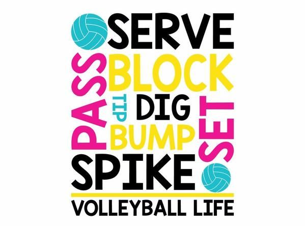 Mix and match typography design filled with Volleyball terms - use for shirts, totes or just print for wall art - includes dxf, jpeg, png & svg files for Cricut and Silhouette users