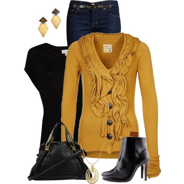 """""""Gold Cardigan"""" by daiscat on Polyvore"""