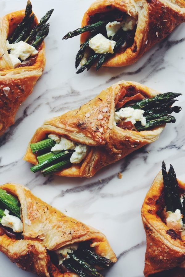 Baked Asparagus, Goat Cheese & Prosciutto Puff Pastries with Sun Dried Tomato Spread
