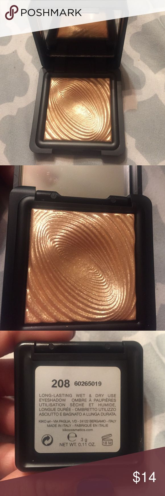 Kiko 208 shadow Can be hard to find. Amazing dupe for Mac whisper or guilt! So pretty. Can be used as highlight, or shadow. Wet or dry. Authentic from Kiko store in New Jersey. no trades/holds. PRICE IS FIRM Kiko milano  Makeup Luminizer
