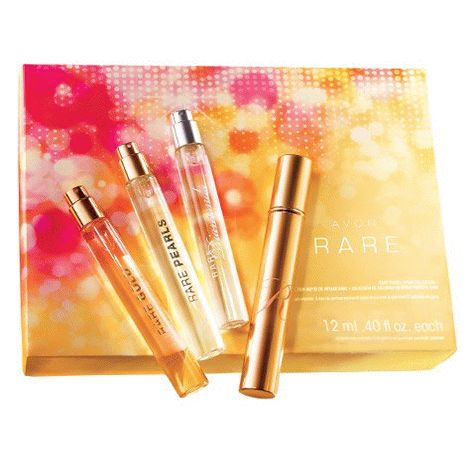 AVON RARE TRAVEL SPRAY COLLECTION A trio of luxurious Eau de Parfum Sprays plus an elegant goldtoned case, perfect for carrying in your purse or evening bag. RARE GOLD Opulent orange flowers and amber. RARE PEARLS Magnolia and sparkling plum. RARE DIAMONDS Diamond orchid and rich woods. #avon #perfume #travel