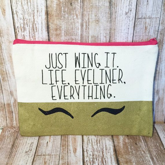 Just wing it makeup bag  canvas makeup bag  by LoveWhimsyArt