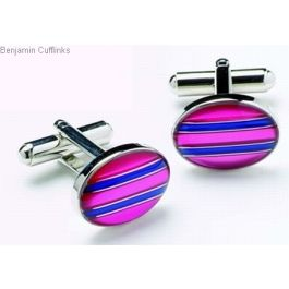 Pink and Blue Stripes Cufflinks
