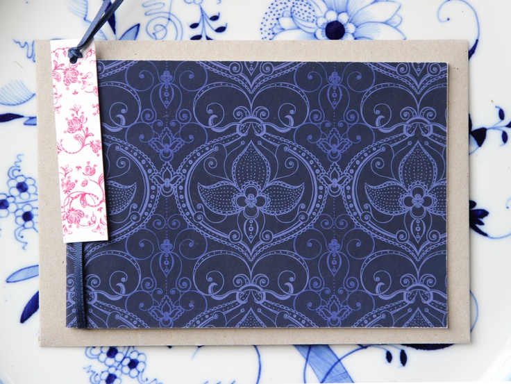 naturewrap greeting card with tag 'Gaston Blue' Printed on archival bamboo paper www.emmajennings.com.au