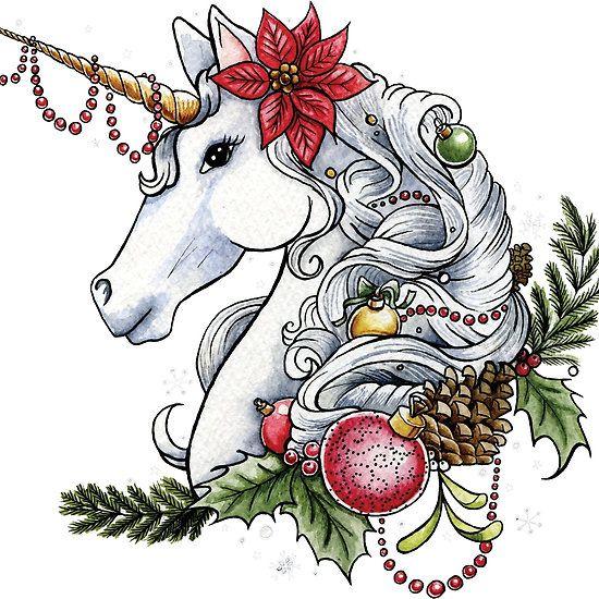 Christmas Unicorn Plain Background