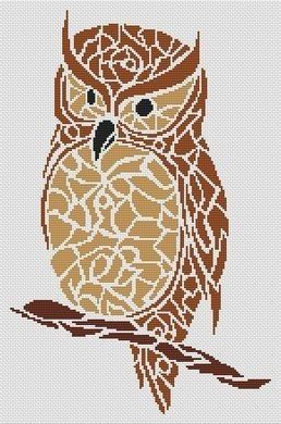 White Willow Stitching Tribal Owl - Cross Stitch Pattern. Based on the artwork of Skyler Larson. Model stitched on 14 Ct. White Aida with DMC floss. Stitch Coun