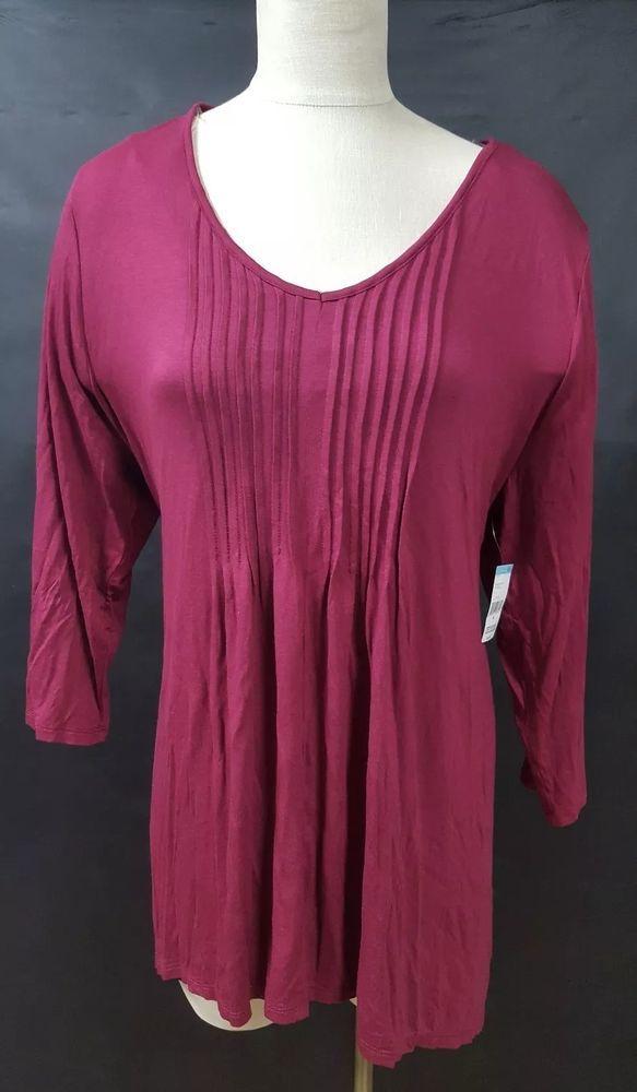 91001862906 Simply Emma Burgundy Red Pintuck Tunic Shirt Handkerchief Hem 3 4 Sleeve  Casual  SimplyEmma  Tunic  Casual