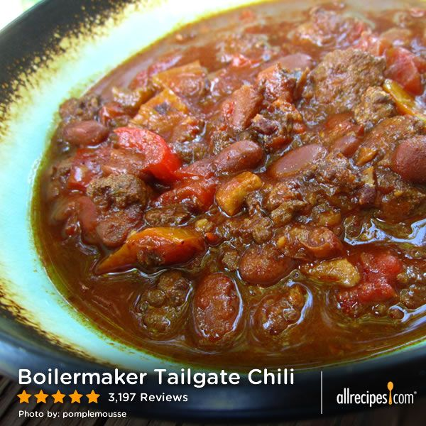 """Boilermaker Tailgate Chili   """"So amazing. Made exactly as directed, no substitutes. It does take a lot of time to make, but the effort is worth it. I froze half of it and when I thawed it and reheated it later it was just as good, if not better! This recipe is a real winner. One of my faves from the site."""""""