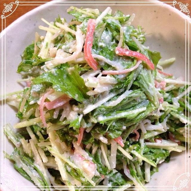 お気に入りの水菜のサラダ♫ いつもは竹輪だけど、今日はカニかまで! これもまた美味しい*\(^o^)/* - 18件のもぐもぐ - 水菜の白和え風サラダ♫ by poppo314