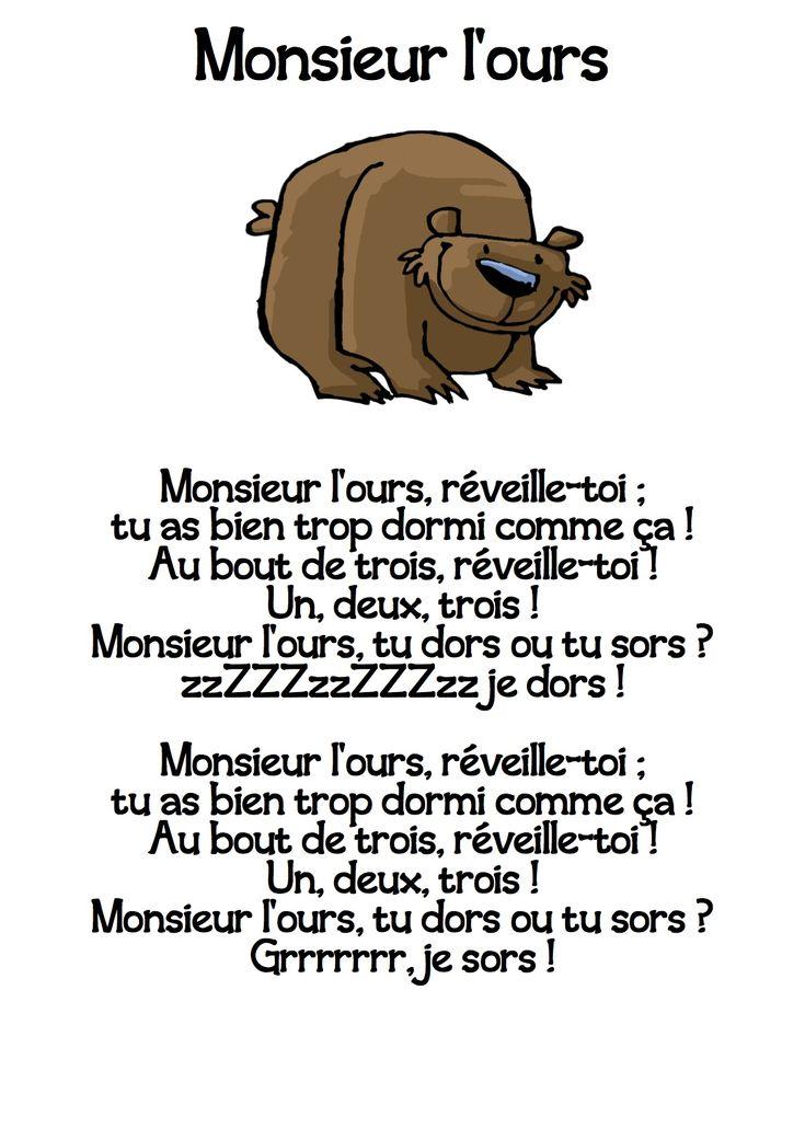 comptine Monsieur l'ours