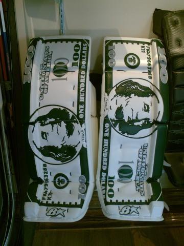 Very detailed Brian's custom goalie pad set #brians #goaliesonly #dollarbill #goalie
