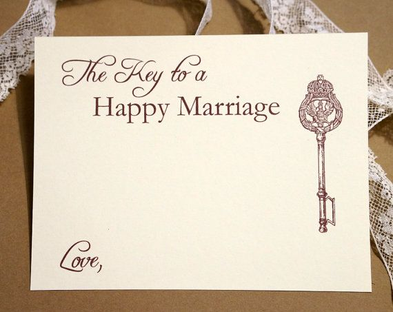 Key to a Happy Marriage  Wedding Advice Cards  by agiftfordesign