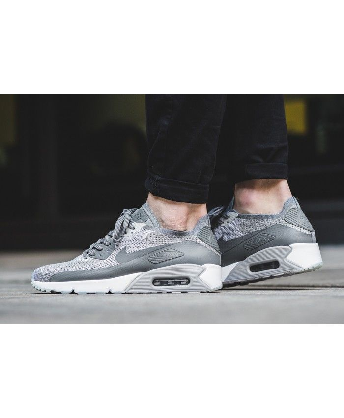 b4812ff12162 Cheap Nike Air Max 90 Ultra 2.0 Flyknit Pure Platinum White Wolf Grey Cool  Grey Mens
