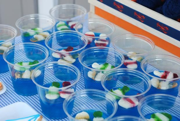 Jell-O shots with shnapps pickled gummy fish = delicious ADULT party drink