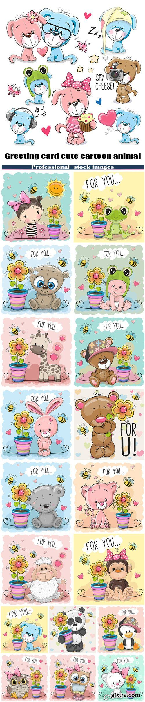 Greeting card cute cartoon animal with a flower