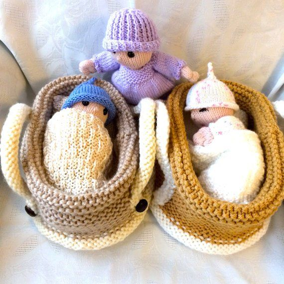 Knitting pattern for Baby Doll in Crib and more stash buster knitting patterns - more at megacutie.co.uk
