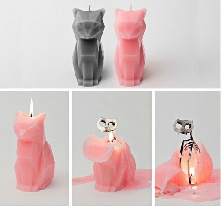 These cat candle melts into a skeleton