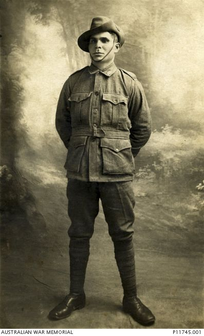 Studio portrait of 8275 Sapper (Spr) John Fitzgerald, Australian Tunnelling Companies Reinforcements. Spr Fitzgerald, an indigenous soldier, embarked from Melbourne aboard SS Indarra on 26 November