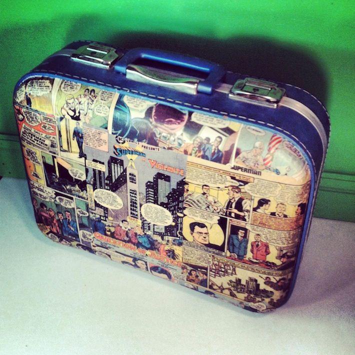 Vintage decoupaged comic book suitcase